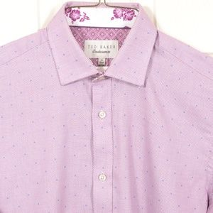Ted Baker 15-32/33 Pink Blue Polka-dot PointCollar